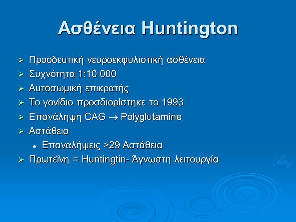Ασθένεια Huntington Προοδευτική νευροεκφυλιστική ασθένεια