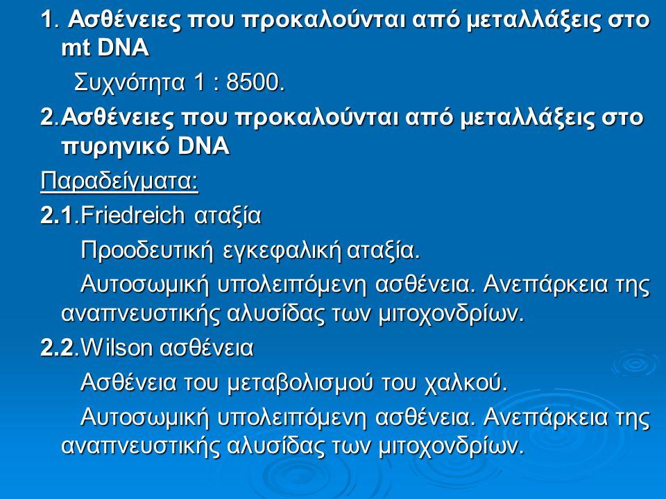 1. Ασθένειες που προκαλούνται από μεταλλάξεις στο mt DNA