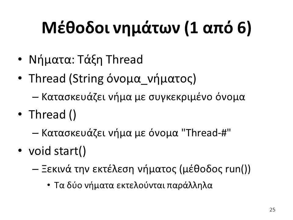 Μέθοδοι νημάτων (1 από 6) Νήματα: Τάξη Thread