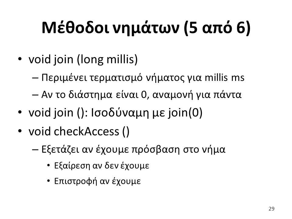 Μέθοδοι νημάτων (5 από 6) void join (long millis)