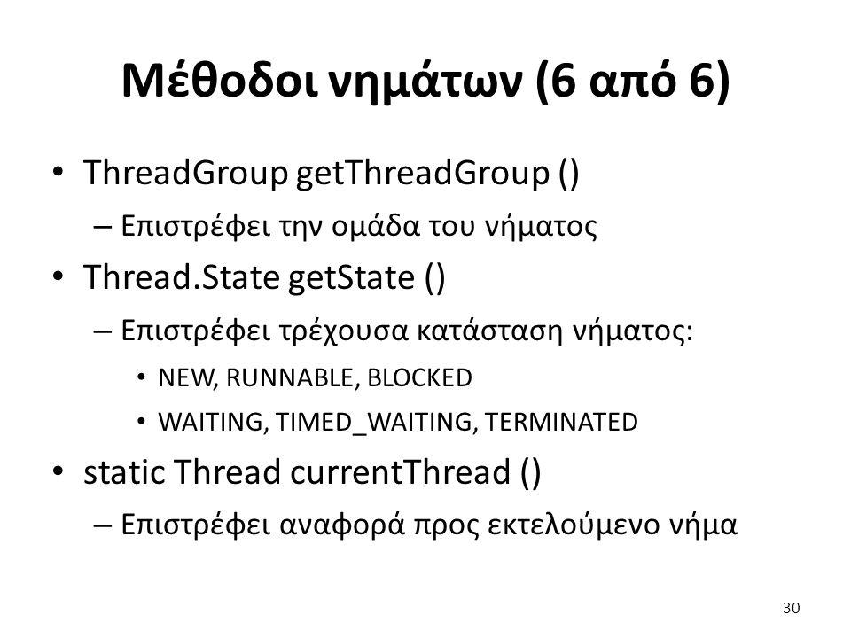 Μέθοδοι νημάτων (6 από 6) ThreadGroup getThreadGroup ()