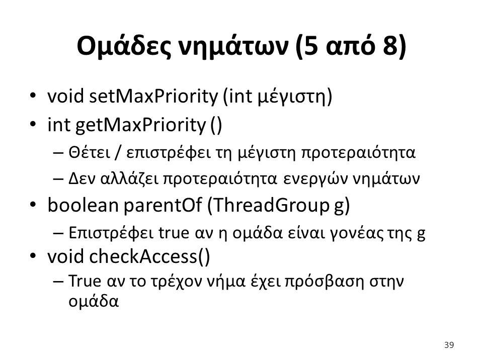 Ομάδες νημάτων (5 από 8) void setMaxPriority (int μέγιστη)