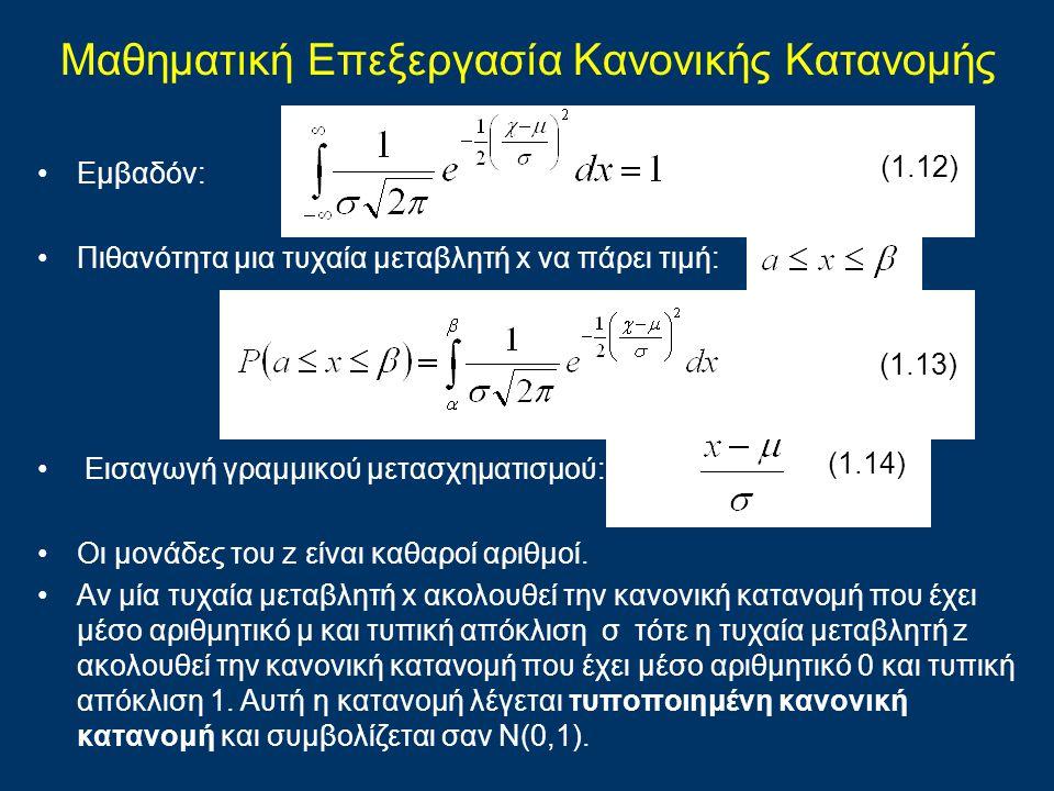 Μαθηματική Επεξεργασία Kανονικής Kατανομής