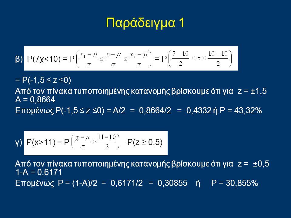 Παράδειγμα 1 β) P(7χ<10) = P = P = P(-1,5 ≤ z ≤0)