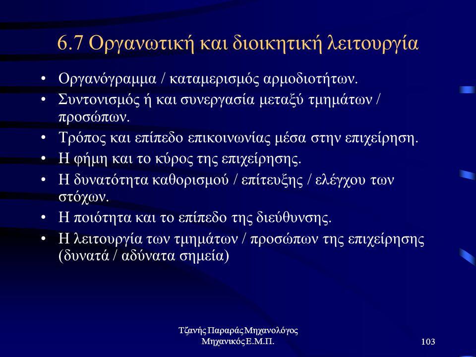 6.7 Οργανωτική και διοικητική λειτουργία
