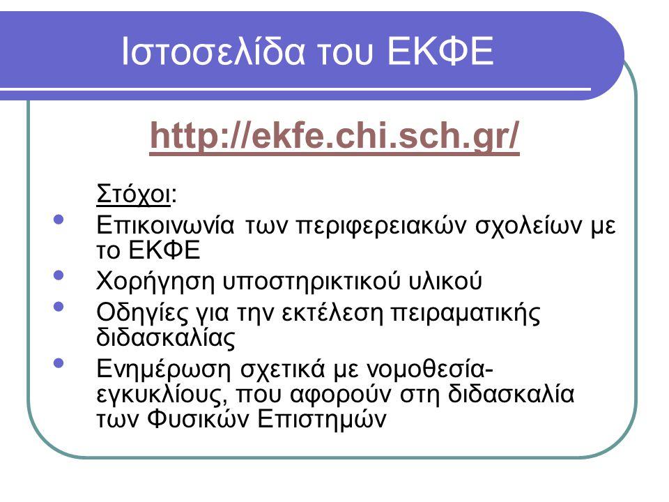 Ιστοσελίδα του ΕΚΦΕ http://ekfe.chi.sch.gr/