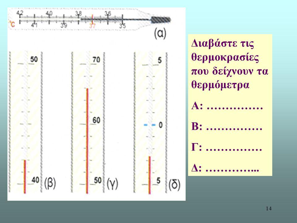 Διαβάστε τις θερμοκρασίες που δείχνουν τα θερμόμετρα