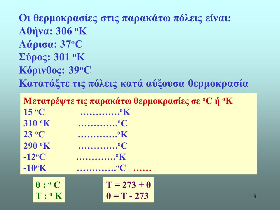 Οι θερμοκρασίες στις παρακάτω πόλεις είναι: Αθήνα: 306 οΚ Λάρισα: 37οC