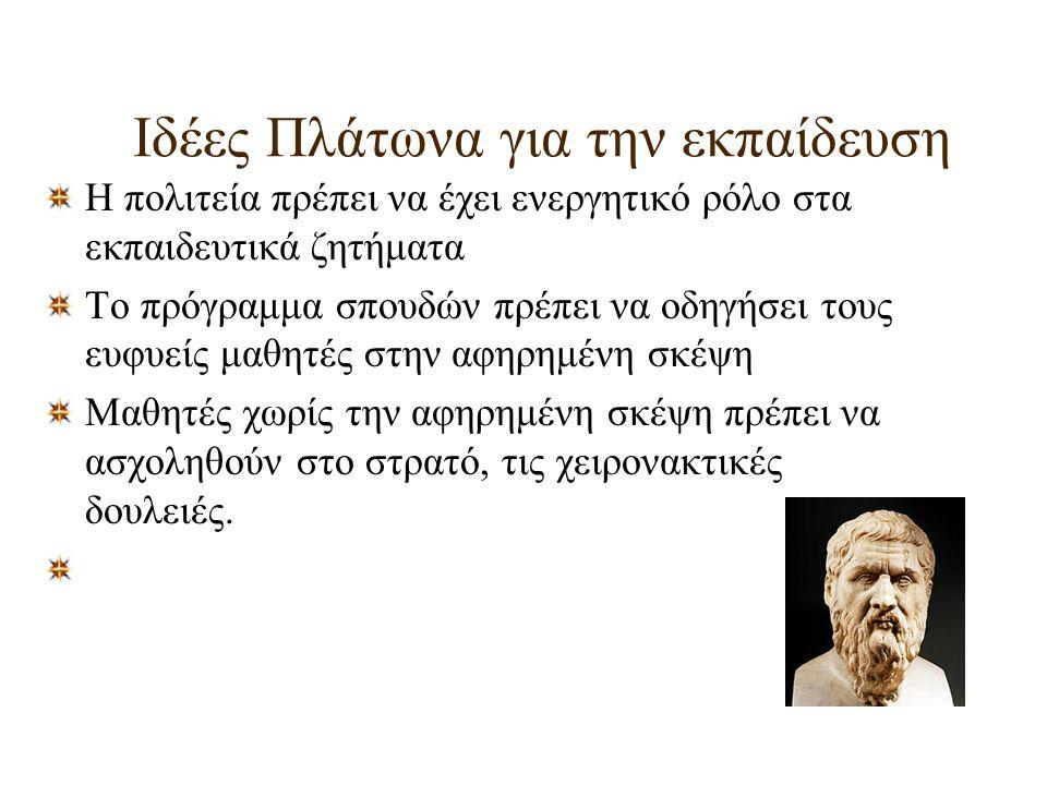 Ιδέες Πλάτωνα για την εκπαίδευση