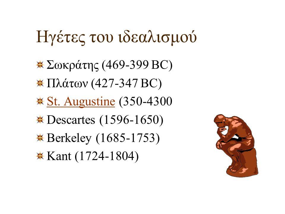 Ηγέτες του ιδεαλισμού Σωκράτης (469-399 BC) Πλάτων (427-347 BC)