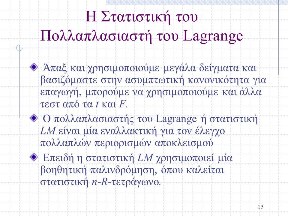 Η Στατιστική του Πολλαπλασιαστή του Lagrange