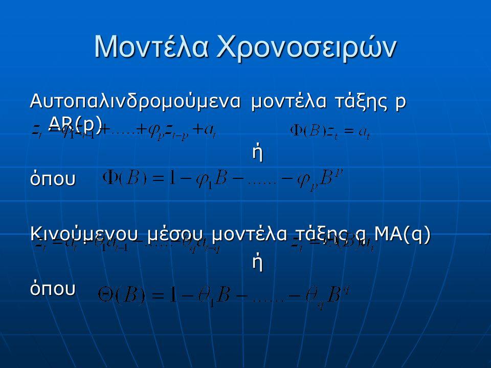 Μοντέλα Χρονοσειρών Αυτοπαλινδρομούμενα μοντέλα τάξης p AR(p) ή όπου
