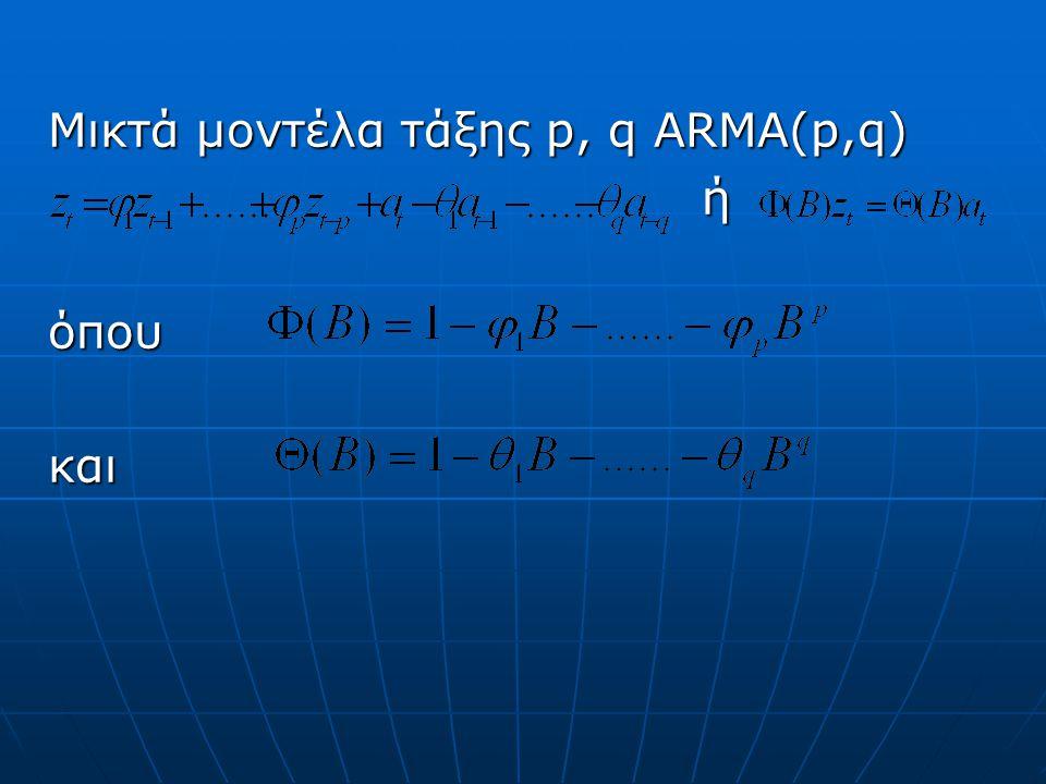 Μικτά μοντέλα τάξης p, q ARMA(p,q)
