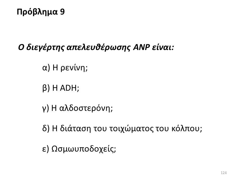Πρόβλημα 9 Ο διεγέρτης απελευθέρωσης ANP είναι: α) Η ρενίνη; β) Η ADH; γ) Η αλδοστερόνη; δ) Η διάταση του τοιχώματος του κόλπου;