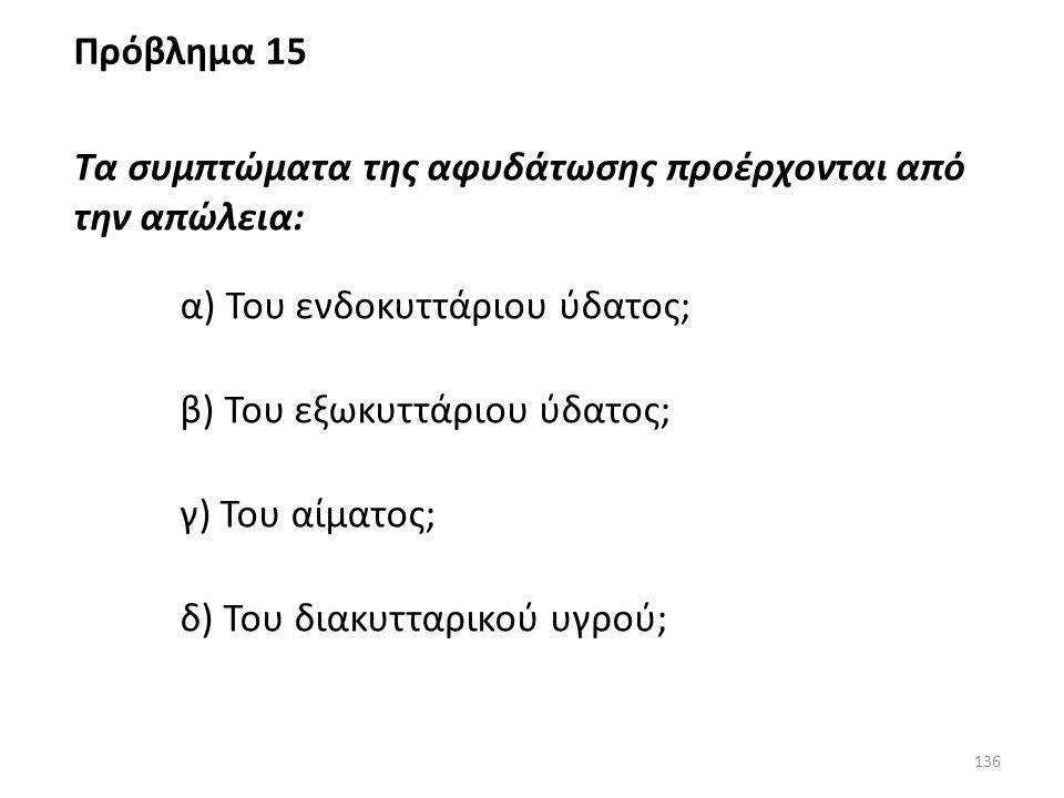 Πρόβλημα 15 Τα συμπτώματα της αφυδάτωσης προέρχονται από την απώλεια: α) Του ενδοκυττάριου ύδατος;