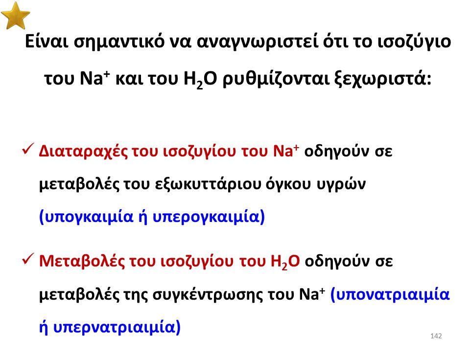 Είναι σημαντικό να αναγνωριστεί ότι το ισοζύγιο του Na+ και του Η2Ο ρυθμίζονται ξεχωριστά: