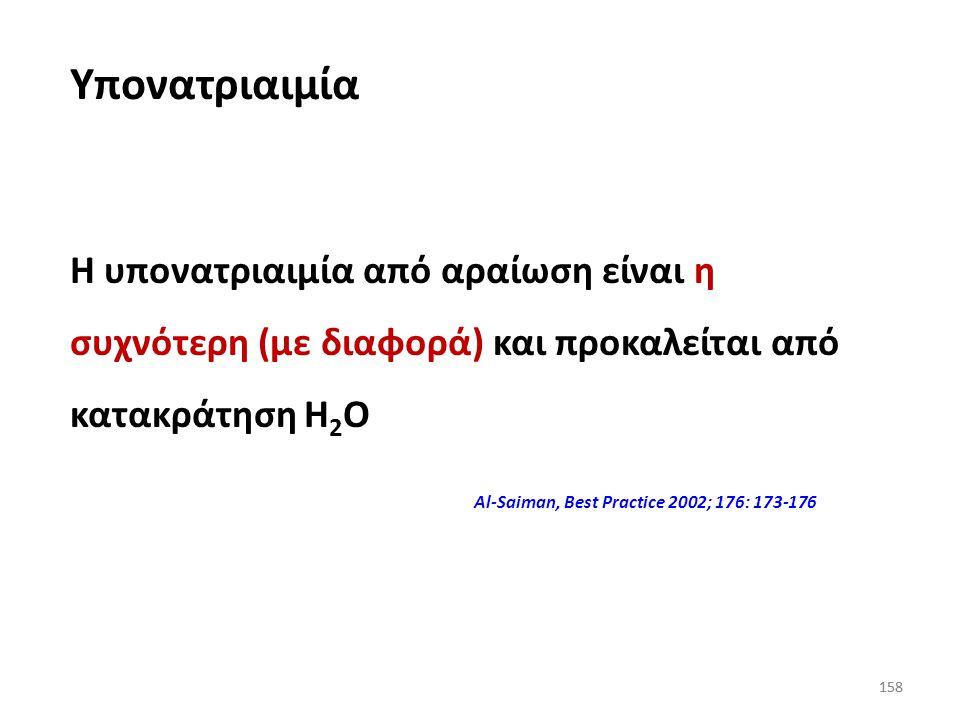 Υπονατριαιμία Η υπονατριαιμία από αραίωση είναι η συχνότερη (με διαφορά) και προκαλείται από κατακράτηση Η2Ο.