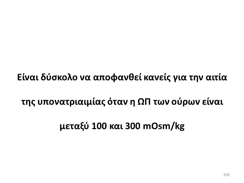 Είναι δύσκολο να αποφανθεί κανείς για την αιτία της υπονατριαιμίας όταν η ΩΠ των ούρων είναι μεταξύ 100 και 300 mOsm/kg