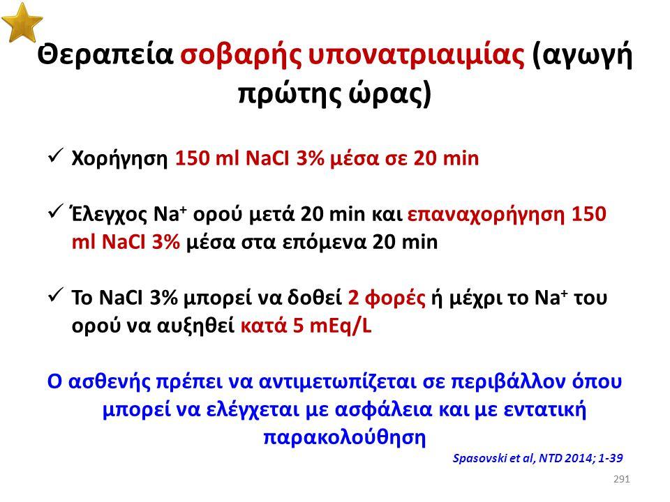 Θεραπεία σοβαρής υπονατριαιμίας (αγωγή πρώτης ώρας)