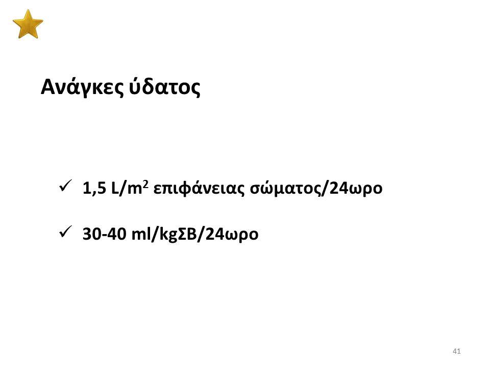 Ανάγκες ύδατος 1,5 L/m2 επιφάνειας σώματος/24ωρο 30-40 ml/kgΣB/24ωρο