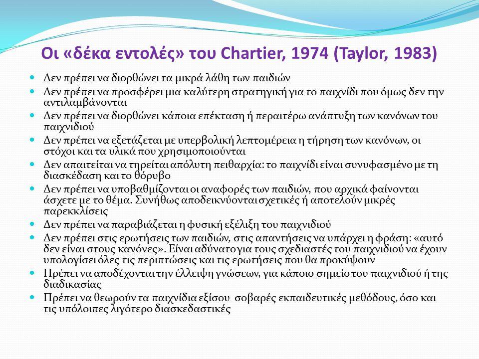 Οι «δέκα εντολές» του Chartier, 1974 (Taylor, 1983)