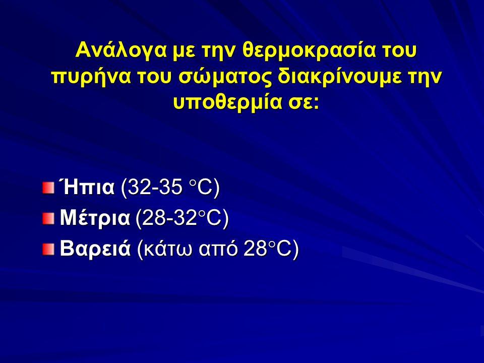 Ανάλογα με την θερμοκρασία του πυρήνα του σώματος διακρίνουμε την υποθερμία σε:
