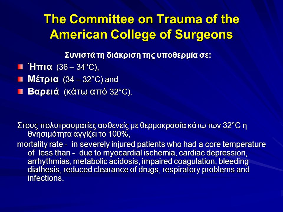 The Committee on Trauma of the American College of Surgeons