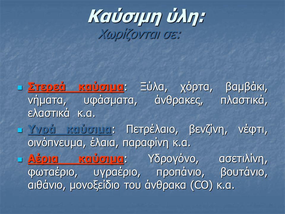 Καύσιμη ύλη: Χωρίζονται σε: