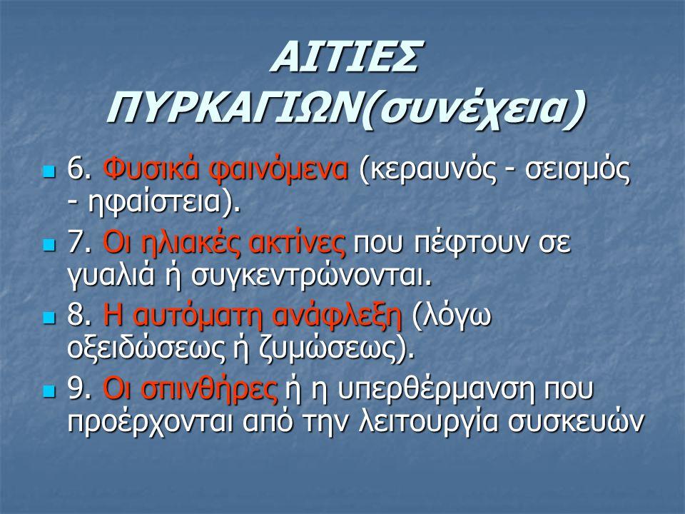 ΑΙΤΙΕΣ ΠΥΡΚΑΓΙΩΝ(συνέχεια)