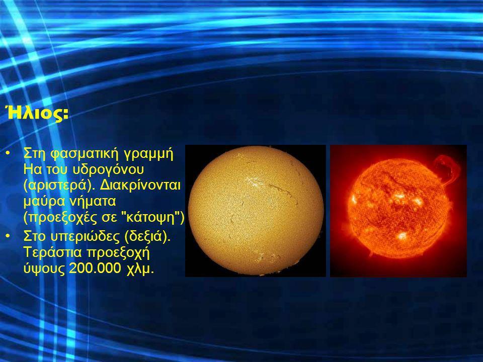Ήλιος: Στη φασματική γραμμή Ηα του υδρογόνου (αριστερά). Διακρίνονται μαύρα νήματα (προεξοχές σε κάτοψη )