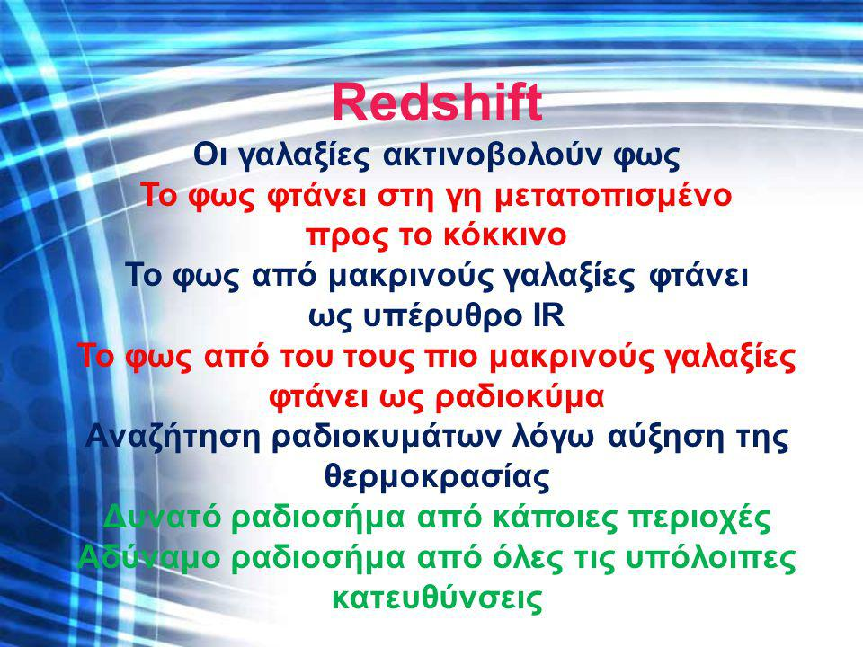 Redshift Οι γαλαξίες ακτινοβολούν φως