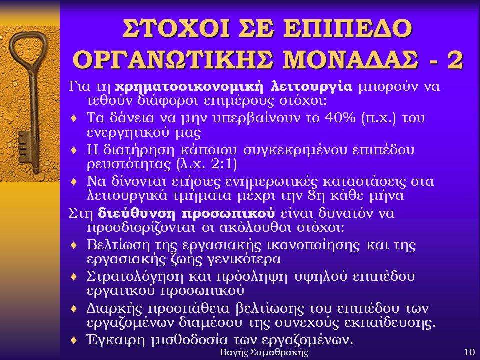 ΣΤΟΧΟΙ ΣΕ ΕΠΙΠΕΔΟ ΟΡΓΑΝΩΤΙΚΗΣ ΜΟΝΑΔΑΣ - 2