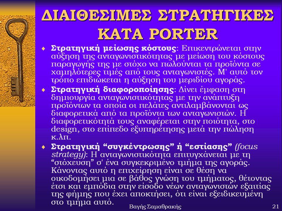 ΔΙΑΙΘΕΣΙΜΕΣ ΣΤΡΑΤΗΓΙΚΕΣ ΚΑΤA PORTER