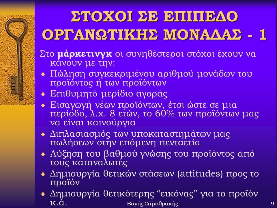 ΣΤΟΧΟΙ ΣΕ ΕΠΙΠΕΔΟ ΟΡΓΑΝΩΤΙΚΗΣ ΜΟΝΑΔΑΣ - 1