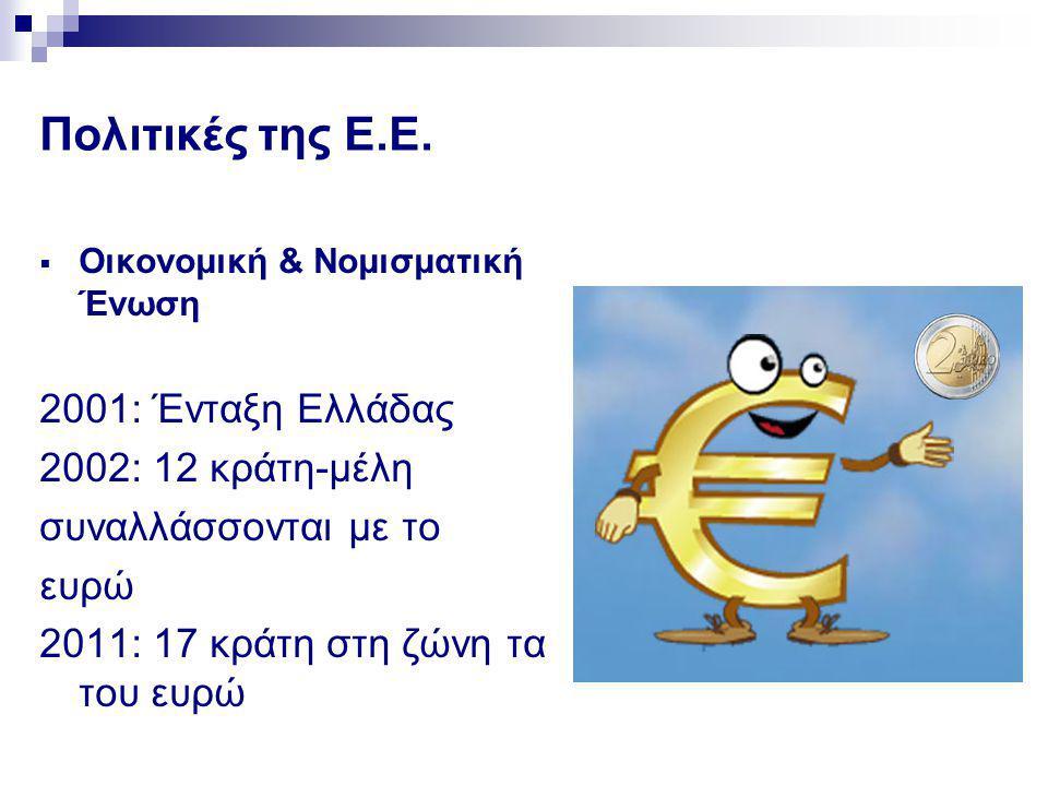 Πολιτικές της Ε.Ε. 2001: Ένταξη Ελλάδας 2002: 12 κράτη-μέλη