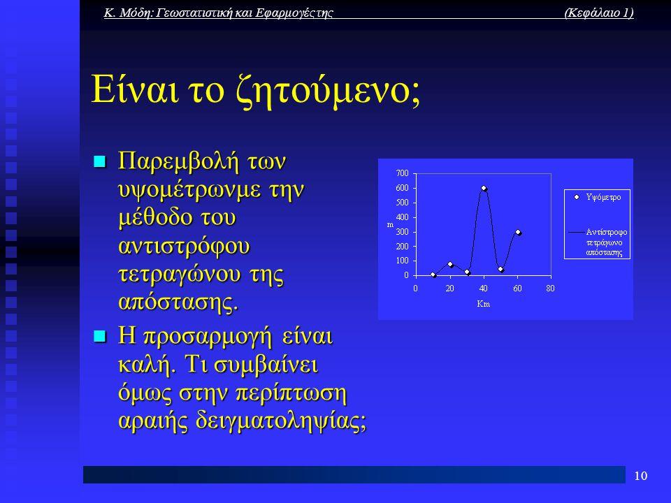 Κ. Μόδη: Γεωστατιστική και Εφαρμογές της (Κεφάλαιο 1)