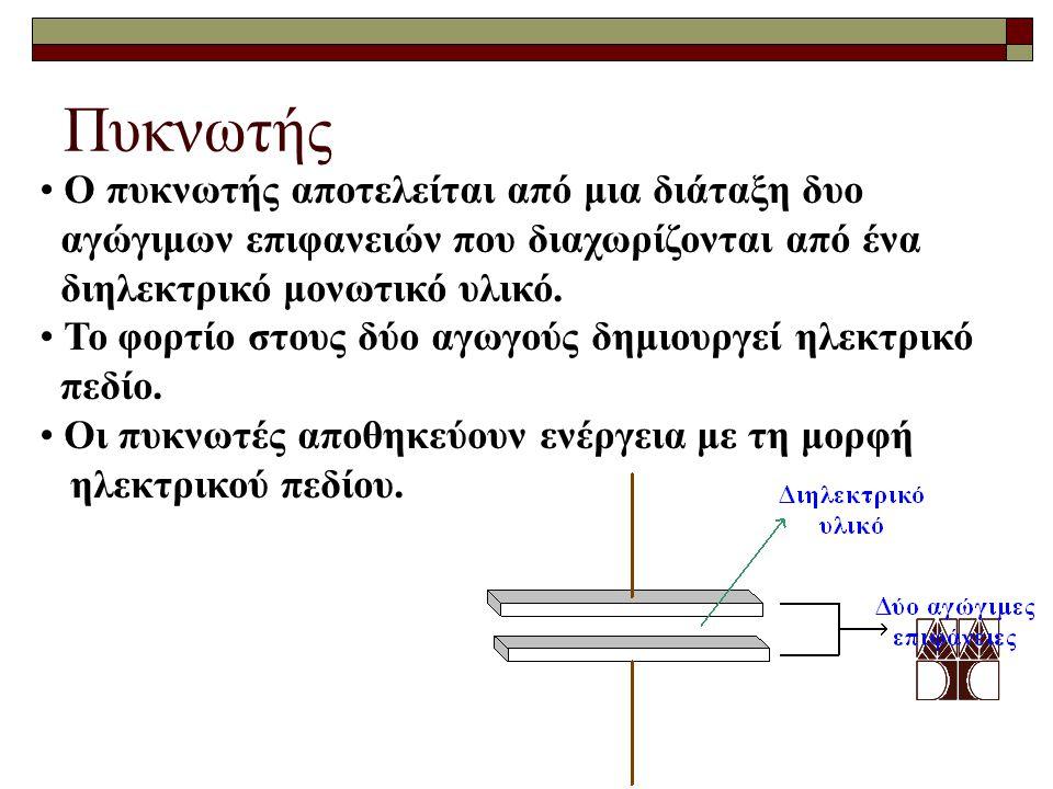Πυκνωτής Ο πυκνωτής αποτελείται από μια διάταξη δυο
