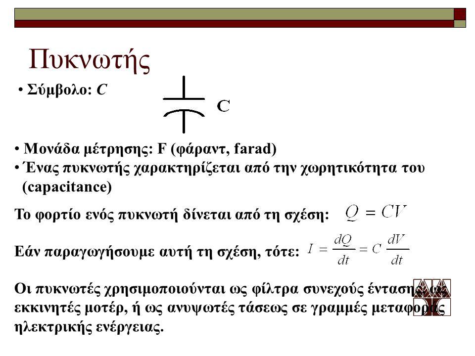 Πυκνωτής Σύμβολο: C Μονάδα μέτρησης: F (φάραντ, farad)