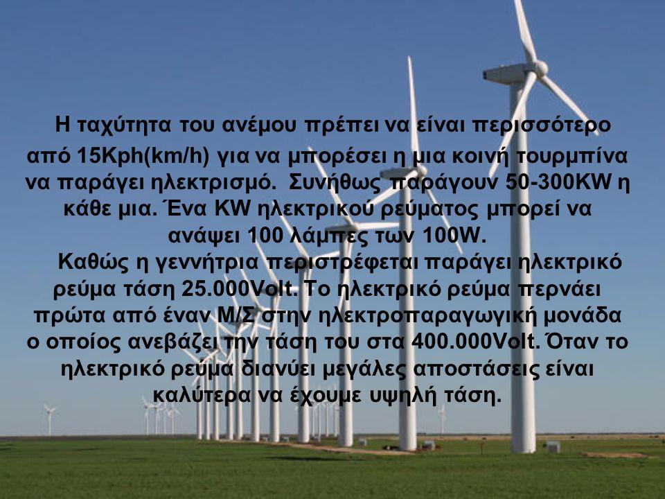 Η ταχύτητα του ανέμου πρέπει να είναι περισσότερο από 15Kph(km/h) για να μπορέσει η μια κοινή τουρμπίνα να παράγει ηλεκτρισμό. Συνήθως παράγουν 50-300KW η κάθε μια.