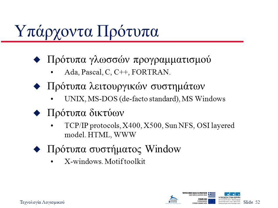 Υπάρχοντα Πρότυπα Πρότυπα γλωσσών προγραμματισμού