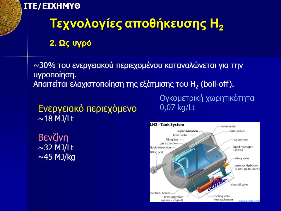 Τεχνολογίες αποθήκευσης Η2 2. Ως υγρό