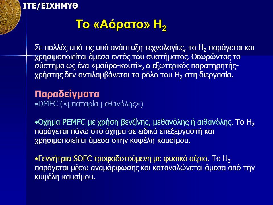 Το «Αόρατο» Η2 Παραδείγματα ΙΤΕ/ΕΙΧΗΜΥΘ