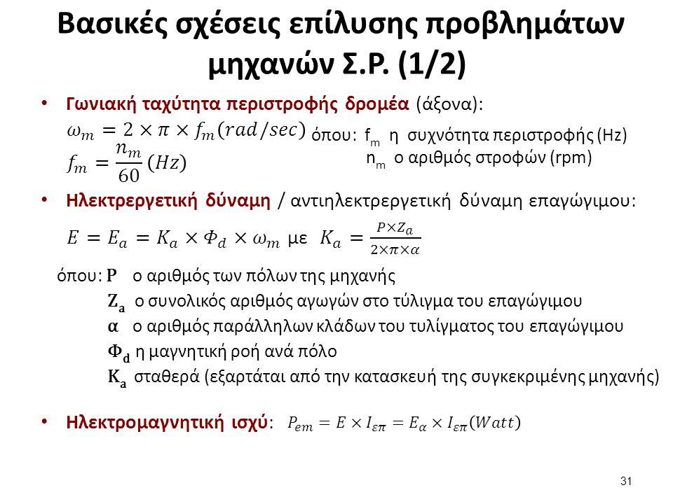 Βασικές σχέσεις επίλυσης προβλημάτων μηχανών Σ.Ρ. (2/2)