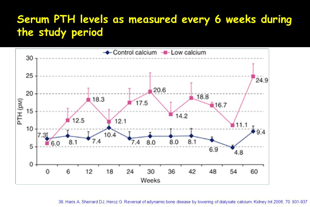 Serum PTH levels as measured every 6 weeks during the study period
