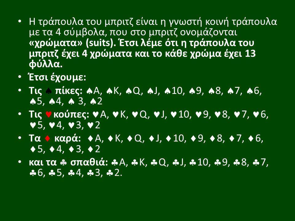 Η τράπουλα του μπριτζ είναι η γνωστή κοινή τράπουλα με τα 4 σύμβολα, που στο μπριτζ ονομάζονται «χρώματα» (suits). Έτσι λέμε ότι η τράπουλα του μπριτζ έχει 4 χρώματα και το κάθε χρώμα έχει 13 φύλλα.