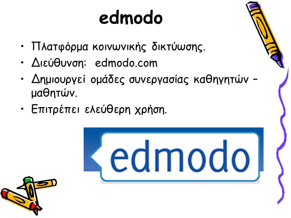edmodo Πλατφόρμα κοινωνικής δικτύωσης. Διεύθυνση: edmodo.com