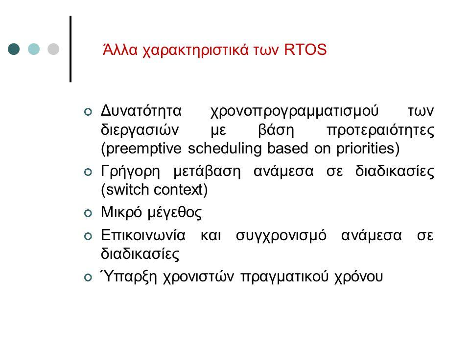 Άλλα χαρακτηριστικά των RTOS