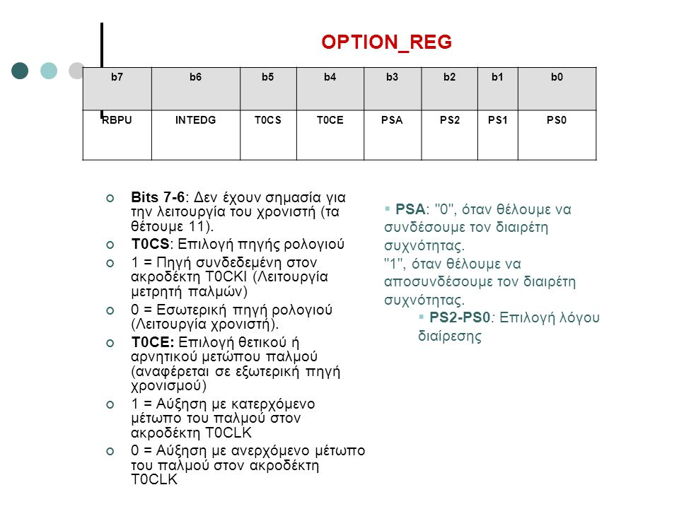 OPTION_REG b7. b6. b5. b4. b3. b2. b1. b0. RBPU. INTEDG. T0CS. T0CE. PSA. PS2. PS1. PS0.