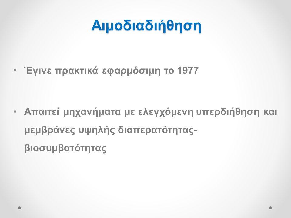 Αιμοδιαδιήθηση Έγινε πρακτικά εφαρμόσιμη το 1977
