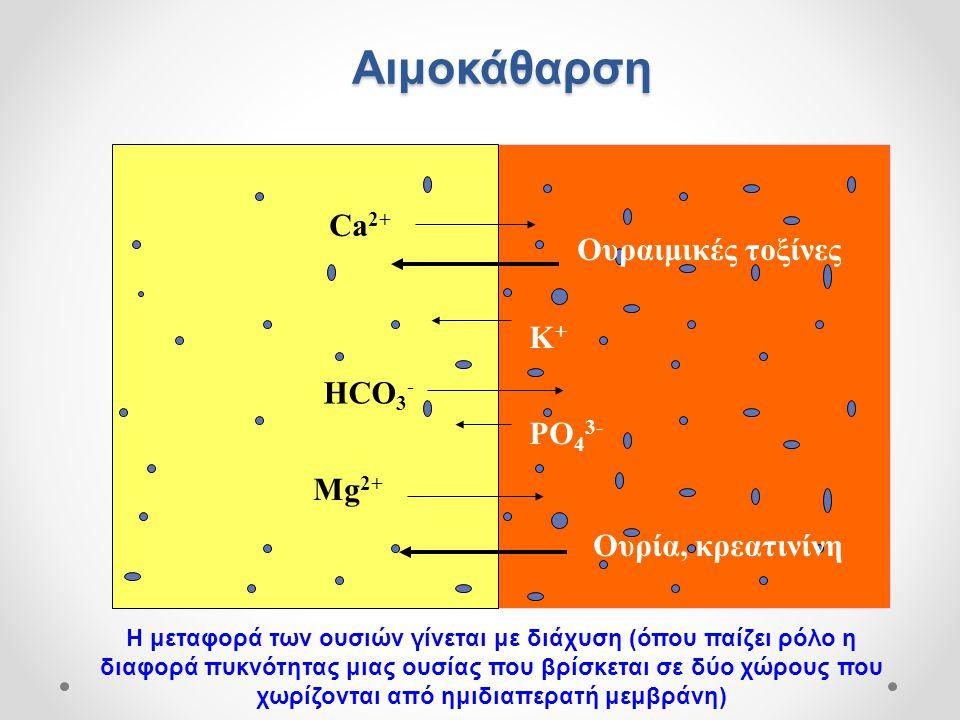 Αιμοκάθαρση Ca2+ Ουραιμικές τοξίνες K+ HCO3- PO43- Mg2+